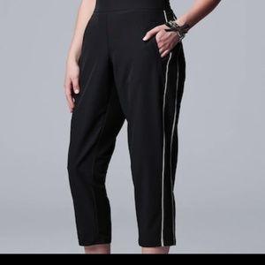 Simply Vera Wang Black Striped Crop Tuxedo Pants L